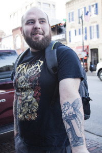 "Austin resident Matt Corillard based his tattoo on Sumerian religion, which derives from ancient Mesopotamia. ""I think there's a lot that's unexplained. The past is really just a big mystery."""