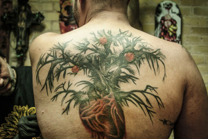Austin resident Jon Shakarisaz prefers to pick an artist and build a relationship with him. True Blue Tattoo manager and artist Cory Correia tattooed almost every piece Shakarisaz has on his body, including the back piece that represents his divorce.
