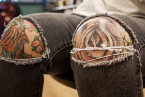 True Blue Tattoo artist Chelsea Kotzer says some of her tattoos have significance, and others do not. She doesn't necessarily have a favorite, but she likes them all because of the friends who gave them to her.
