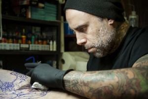 Cory Correia trained for two years as an apprentice in Hawaii before moving to Austin, where he now manages True Blue Tattoo on Red River Street.