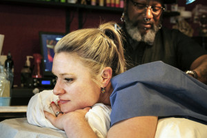 Austin resident Lauren McIntyre is having an old tattoo covered up by Zulu at Zulu Tattoo. The difference between working with previous artists and working with Zulu has been night-and-day, she says.